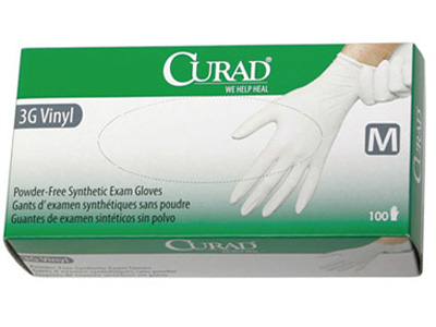 Curad 3G Synthetic Vinyl Powder-Free Exam Gloves
